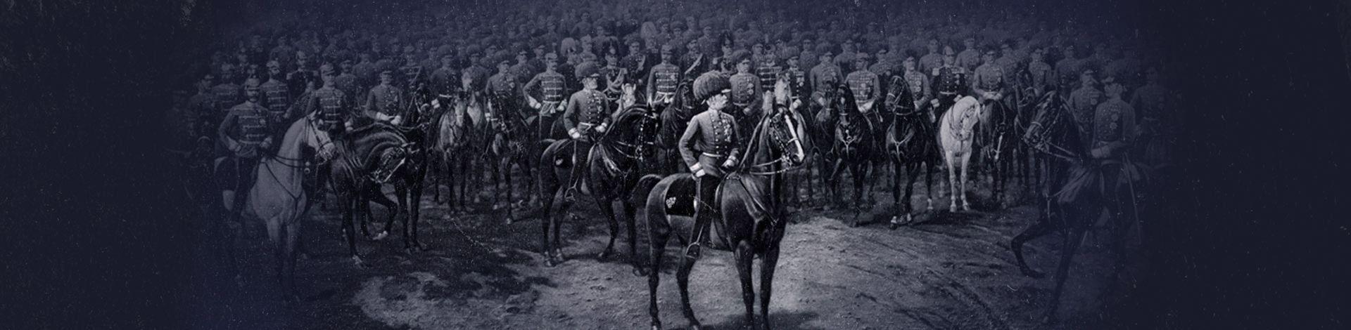 Kaiser Franz Joseph I hoch zu Ross umgeben von Menschen
