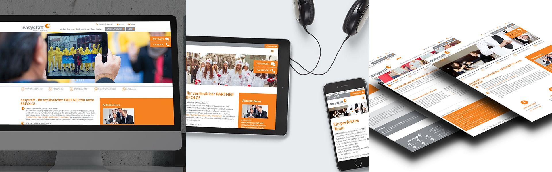 Collage diverser Ansichten der easystaff-Homepage