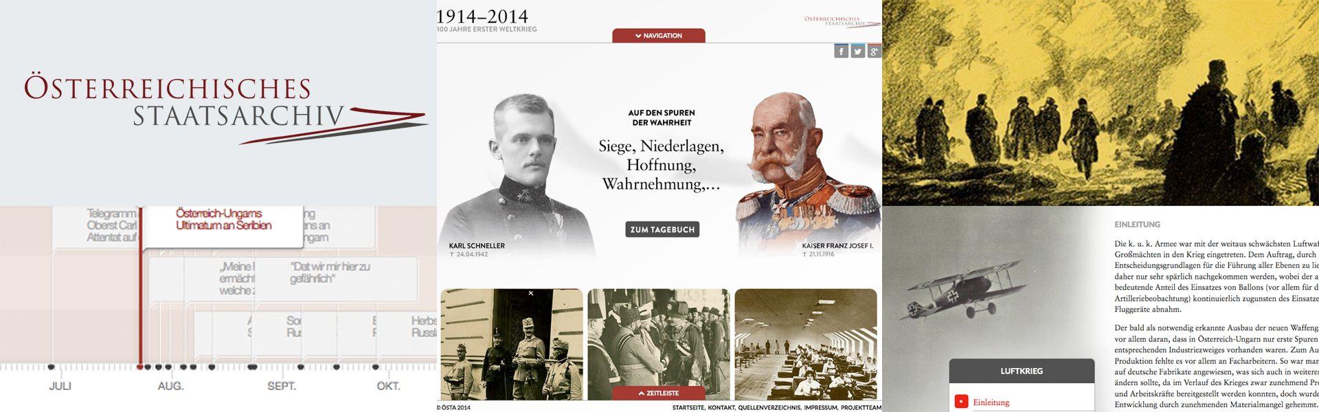 Collage der Homepage zum 1. Weltkrieg